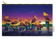 Pelican Sunset Whimsical Cartoon Tropical Birds Seascape Print Blue Orange Purple Yellow Carry-all Pouch