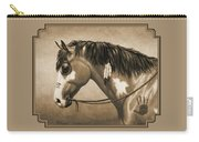 Buckskin War Horse In Sepia Carry-all Pouch by Crista Forest