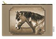 Buckskin War Horse In Sepia Carry-all Pouch