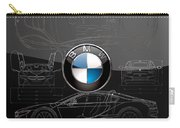 B M W  3 D  Badge Over B M W I8 Silver Blueprint On Black Special Edition Carry-all Pouch