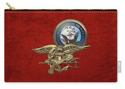 U. S. Navy S E A Ls Trident Over Red Velvet Carry-all Pouch