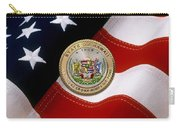 Hawaii State Seal Over U.s. Flag Carry-all Pouch