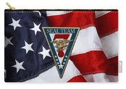 U. S. Navy S E A Ls - S E A L Team Seven  -  S T 7  Patch Over U. S. Flag Carry-all Pouch