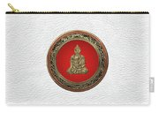 Treasure Trove - Gold Buddha On White Leather Carry-all Pouch