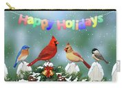 Christmas Birds And Garland Carry-all Pouch by Crista Forest