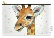 Baby Giraffe Watercolor With Heart Shaped Spots Carry-all Pouch