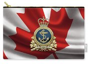 Royal Canadian Navy  -  R C N  Badge Over Canadian Flag Carry-all Pouch