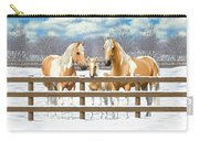 Palomino Paint Horses In Snow Carry-all Pouch