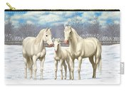 White Horses In Winter Pasture Carry-all Pouch