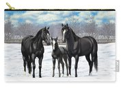 Black Horses In Winter Pasture Carry-all Pouch