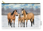 Buckskin Horses In Winter Pasture Carry-all Pouch