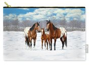 Bay Appaloosa Horses In Winter Pasture Carry-all Pouch