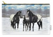 Black Appaloosa Horses In Winter Pasture Carry-all Pouch
