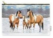 Buckskin Paint Horses In Winter Pasture Carry-all Pouch