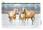 Palomino Paint Horses In Winter Pasture Carry-all Pouch