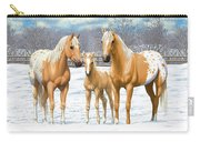 Palomino Appaloosa Horses In Winter Carry-all Pouch