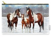 Bay Paint Horses In Winter Carry-all Pouch