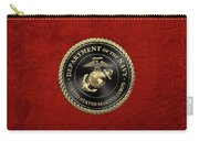U S M C Emblem Black Edition Over Red Velvet Carry-all Pouch