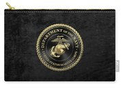 U S M C Emblem Black Edition Over Black Velvet Carry-all Pouch