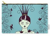Strange Hairstyle And Flowery Swirls Carry-all Pouch