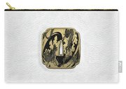 Japanese Katana Tsuba - Golden Twin Dragons On Black Steel Over White Leather Carry-all Pouch