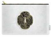 Japanese Katana Tsuba - Golden Twin Koi On Black Steel Over White Leather Carry-all Pouch