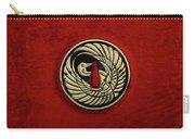 Japanese Katana Tsuba - Golden Crane On Black Steel Over Red Velvet Carry-all Pouch