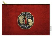 Japanese Katana Tsuba - Twin Gold Fish On Black Steel Over Red Velvet Carry-all Pouch