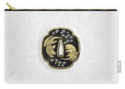 Japanese Katana Tsuba - Twin Gold Fish On Black Steel Over White Leather Carry-all Pouch