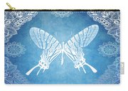Bohemian Ornamental Butterfly Deep Blue Ombre Illustratration Carry-all Pouch