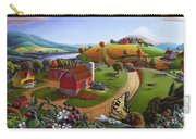Folk Art Blackberry Patch Rural Country Farm Landscape Painting - Blackberries Rustic Americana Carry-all Pouch
