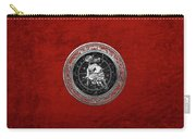 Western Zodiac - Silver Taurus - The Bull On Red Velvet Carry-all Pouch