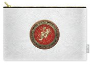 Western Zodiac - Golden Gemini - The Twins On White Leather Carry-all Pouch