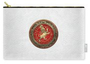 Western Zodiac - Golden Leo - The Lion On White Leather Carry-all Pouch