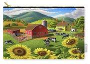 Sunflowers Cows Appalachian Farm Landscape - Rural Americana - Farm Animals - 1950 Farm Life - Barn Carry-all Pouch