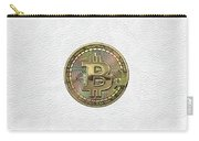 Gold Bitcoin Effigy Over White Leather Carry-all Pouch