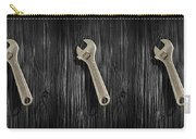 Adjustable Wrench Over Black And White Wood 72 Carry-all Pouch