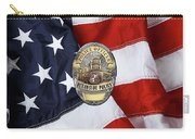 Oceanside Police Department - Opd Officer Badge Over American Flag Carry-all Pouch