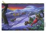 Christmas Sleigh Ride Winter Landscape Oil Painting - Cardinals Country Farm - Small Town Folk Art Carry-all Pouch