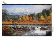 Western Mountain Landscape Autumn Mountain Man Trapper Beaver Dam Frontier Americana Oil Painting Carry-all Pouch