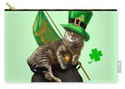 St. Patrick's Day Irish Cat Sitting On A Pot Of Gold Carry-all Pouch by Regina Femrite