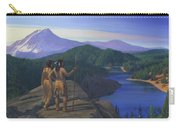 Native American Indian Maiden And Warrior Watching Bear Western Mountain Landscape Carry-all Pouch