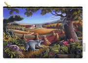 Rural Country Farm Life Landscape Folk Art Raccoon Squirrel Rustic Americana Scene  Carry-all Pouch by Walt Curlee