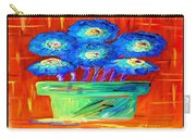 Blue Flowers On Orange Carry-all Pouch