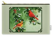 Cardinals And Holly - Version With Snow Carry-all Pouch by Crista Forest