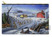 Folk Art Winter Landscape Carry-all Pouch