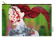 Asian Flower Woman Red Carry-all Pouch