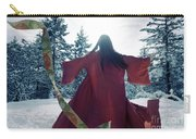 Asian Woman In Red Kimono Dancing In The Snow Spinning Around To Carry-all Pouch