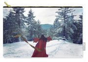 Asian Woman In Red Kimono Dancing On The Snow In The Forest Carry-all Pouch