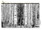 Aspens And The Pine Black And White Fine Art Print Carry-all Pouch